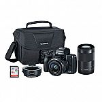 Canon EOS M50 w/ EF-M 15-45mm f/3.5-6.3 & 55-200mm f/4.5-6.3 IS STM Bundle $499