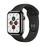 Apple Watch Series 5 44MM GPS + Cell Stainless Black with Black Band $649