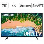 "Samsung UN75NU6080FXZA 75"" 4k UHD 6 Series TV $699"