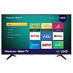 """Hisense 58"""" Class 4K UHD LED Roku Smart TV HDR 58R6E + Free Google Home Mini $278"""