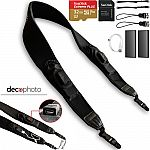 Deco Photo Mirrorless & DSLR Universal Power Strap w/ Built In Camera Charger + 32GB Card $20