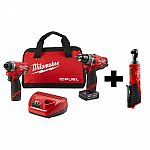 Milwaukee M12 FUEL 12V Li Brushless Cordless Hammer Drill and Impact Driver + M12 3/8 in. Ratchet $199