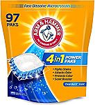97 Count Arm & Hammer 4-in-1 Laundry Detergent Power Paks $8.92