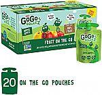 20 Pouches GoGo squeeZ Applesauce on the Go, Apple Apple (3.2 oz) $8.56