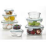 Glasslock 16-Piece Round Shape Glass Food Storage Set $20