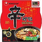 12-Ct Nongshim Shin Bowl Noodle Soup (Gourmet Spicy) $9