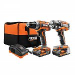 RIDGID 18V Li-Ion Cordless Brushless Drill/Driver and Impact Wrench Combo + 2 Batteries $179 and more