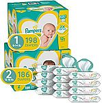 Pampers Swaddlers Diapers (198-Ct Size 1 + 168-Ct Size 2 + 864 Wipes) $81 & More