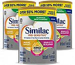 3-Count 34.9oz Similac Pro-Sensitive Non-GMO Infant Formula w/ Iron $71