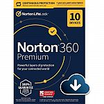 Norton 360 Premium (10-Device) (1-Year Subscription with Auto Renewal) $29.99