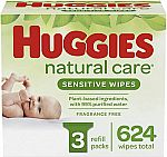 624-Count Huggies Natural Care Sensitive Baby Wipes $11.58
