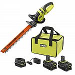 2-Pack Ryobi 18-Volt ONE+ Li-Ion 4.0Ah Battery Kit + with FREE ONE+ Hedge Trimmer $99