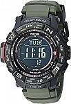 Casio Men's Pro Trek Stainless Steel Quartz Watch (Solar power, Radio Controlled, 200m water resistance) $160