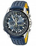 Citizen Men's Stainless Steel 'Blue Angels' World Chronograph Atomic Watch $250