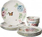 Lenox 12-Piece Butterfly Meadow Hydrangea Dinnerware Set $70
