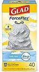 80-Ct 13-Gallon Glad ForceFlex Tall Kitchen Drawstring Trash Bags $9.75
