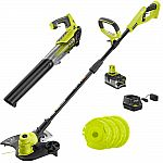 RYOBI ONE+ 18V Cordless String Trimmer/Edger and Blower with Extra 3-Pack of Spools Combo Kit $149
