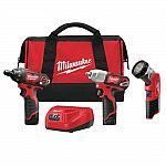 Milwaukee 2491-23 M12 Cordless 3-Tool Combo Kit (Screwdriver, Impact Wrench, Work Light + 2 Batteries) $149