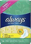 2 x 46 Ct ALWAYS Ultra Thin Size 1 Regular Pads With Wings Unscented $10.41 and more