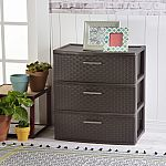 Sterilite 3 Drawer Wide Weave Tower $17.98