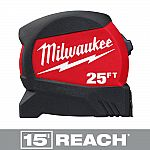 Milwaukee 25 ft. x 1.2 in. Compact Wide Blade Tape Measure $9.97, 16-ft $7.97