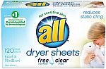 120-Ct all Fabric Softener Dryer Sheets for Sensitive Skin, Free Clear $3.77