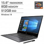 "HP Envy x360 15.6"" Touchscreen 2-in-1 Laptop (Ryzen 5-4500U 8GB 512GB SSD) $610 Shipped"
