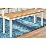 Donnelly White Metal Backless Dining Bench with Natural Finish Wood Seat $59.50 and more