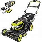 RYOBI 21 in. 40V Brushless Li-Ion Cordless SMART TREK Self-Propelled Walk Behind Mower with 6.0Ah Battery $379 (Today only)