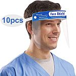 10-Pack Reusable Anti-Fog Face Shields with Adjustable Headbands and Foam Padding $24.99