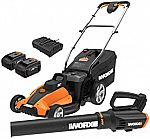 WORX WG959 17-inch 40V Cordless Lawn Mower and WG547 Power Share Cordless Turbine Blower (Open Box) $248