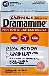 4 Tablets Dramamine Motion Sickness Relief Chewable Formula $0.71