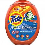 96-Ct Tide or Gain Laundry Detergent Pacs $16.08 & More
