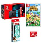 Nintendo Switch Console (Neon Blue/Red JoyCons) w/ Animal Crossing, Case & Memory Card $410