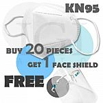 20-Ct KN95 5-Layer Face Mask + Free Face Shield $11 + Free Shipping