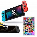 Nintendo Switch Neon Joy-Con with Screen Protector and Mario Kart 8 Deluxe System Bundle $375