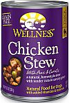 12-Count Wellness Thick & Chunky Natural Wet Grain Free Chicken Stew Canned Dog Food $5.77