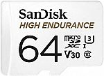 SanDisk 64GB High Endurance Video MicroSDXC Card w/ Adapter for Dash Cam & Home Monitoring Systems $13.50