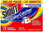 72-Count Shout Color Catcher Sheets for Laundry $8.12