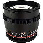 Rokinon 85mm t/1.5 Aspherical Cine Lens for Canon with De-Clicked Aperture and Follow Focus Fixed Lens $229