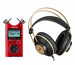 Tascam DR40X 4-Track Audio Recorder and USB Audio Interface,Red W/AKG Headphones $140