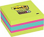 Post-it Super Sticky Notes Cube, 3 in x 3 in, Bright Colors, 1 Cube/Pack $3.33