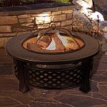 "Pure Garden 32"" Round Metal Fire Pit Set, Wood Burning Pit $124.99"