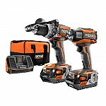 RIDGID 18-Volt Lithium-Ion Cordless Brushless Hammer Drill and Impact Driver Kit $199 (Org $299)