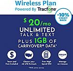 Tracfone $20 Monthly Carrier Subscription for Unlimited Talk, Text, 1GB Data plus Carryover $15