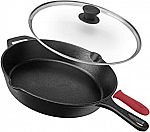 Cuisinel Pre-Seasoned Cast Iron Skillet (12-Inch) W/Glass Lid $26 & More + Free Shipping with Prime