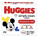 704-Count Huggies Simply Clean Unscented Baby Wipes $11.33