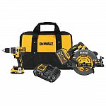 "DeWALT Flexvolt 60V Brushless 7-1/4"" Circular Saw + 1/2"" Hammer Drill Combo Kit $299"