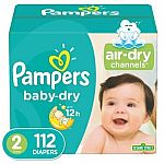 Pampers Cruisers Baby Dry Diapers, Size 2, 112 Count $19.99