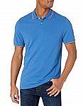 Amazon Essentials Men's Standard Slim-fit Cotton Pique Tipped Polo $7.80